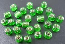 50 gram 3mm rocailles groen silver lined #27