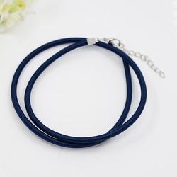 3mm zijde gekl. ketting met verlengkettinkje #2 donkerblauw