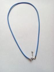 3mm zijde gekleurde ketting met verlengkettinkje #14 blauw