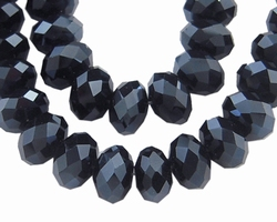 kristal facet kraal 6 x 8 mm zwart glans 27L