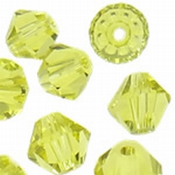 5301 6mm bicone facet lime