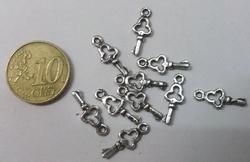 10 metalen sleuteltjes bedels
