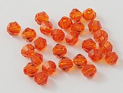 15 stuks Imitatie swarovski 5301 bicone 4mm OrangeRed