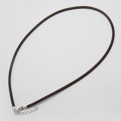 3mm zijde gekleurde ketting met verlengkettinkje #15 Bruin