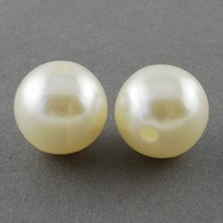 "100 stuks 10mm kunststof kralen ""pearl white"""