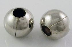 15 nikkelkleurige metalen balletjes 8 mm