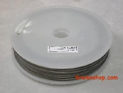 80 meter rol Tigertail draad 0,38 mm zilver