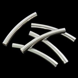 Zilverkleurige gebogen buisjes kraal 25 x 3,5 mm Nikkelvrij