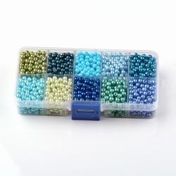 Bakje met 10 kleuren 6mm glaspareltjes 600 totaal #4