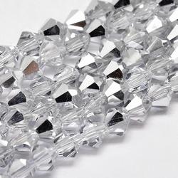 Imitatie austrian crystal 6 x6 mm Half Silverplated