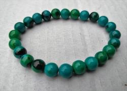 Jade blauw/groen armbandje 6mm kralen 19cm lengte