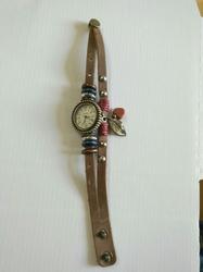 Horloge Leer met waxkoord drukknoop H1