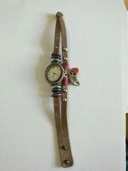 Horloge Leer met waxkoord drukknoop H3