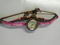 Horloge Leer met waxkoord drukknoop H14