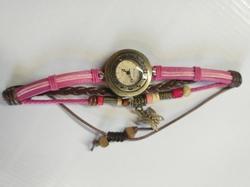 Horloge Leer met waxkoord drukknoop H15