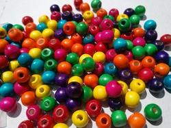 100 ronde houten kralen 6 mm Kleuren mix