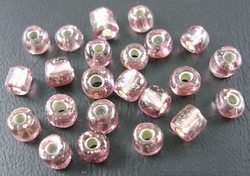 50 gram 3mm rocailles amethyst silver lined #56