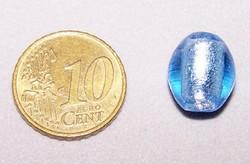 Zilverfolie kraal ovaal blauw Z48