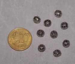 10 nikkelkleurige filigrain balletjes 8 mm