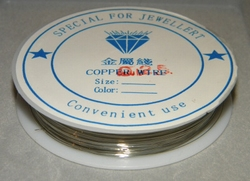 Rol koperdraad 0,25mm dik nikkel / zilver kleurig 45 meter