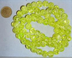 streng 84 10mm crackle kralen lime