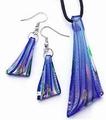 Glashanger met oorbellen en leerkoord setje blauw