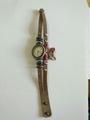 Horloge Leer met waxkoord drukknoop H2
