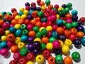 50 ronde houten kralen 14 mm Kleuren mix