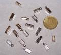 20 leerklemmetjes 12 x 4 mm zilverkleurig