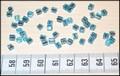 50 4x4 blokjes Lichtblauw Zilveren lijn (A53)